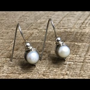 925 Sterling Silver Earrings with Faux Pearl